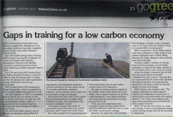 Gaps in training for a low carbon economy