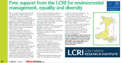 Free support from the LCRI for environmental management, equality and diversity