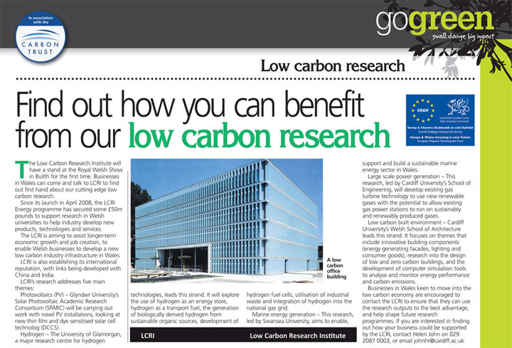 Find out how you can benefit from our low carbon research