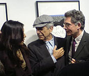 David Boucher, author of Dylan and Cohen, with Leonard Cohen and Anjani Thomas.