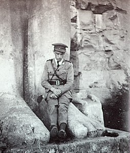 Officer relaxes at Egyptian monument